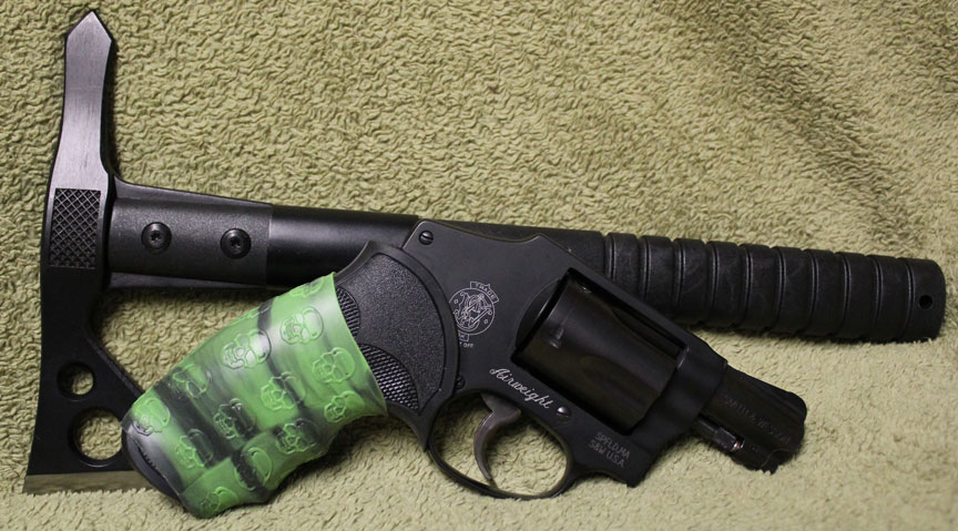 S&W 442 with TUFF1 Zombie Down! Grip and a Serious Tomahawk Too!