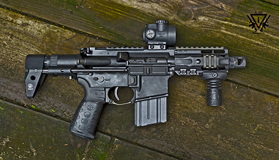 "From B.P. Micro PDW A/R Veritas Tactical upper with 4.5"" Barrel,"