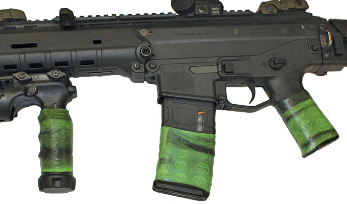 Close-up of Bushmaster Adaptive Combat Rifle (ACR) with 3 TUFF1 Zombie Down! grips covers