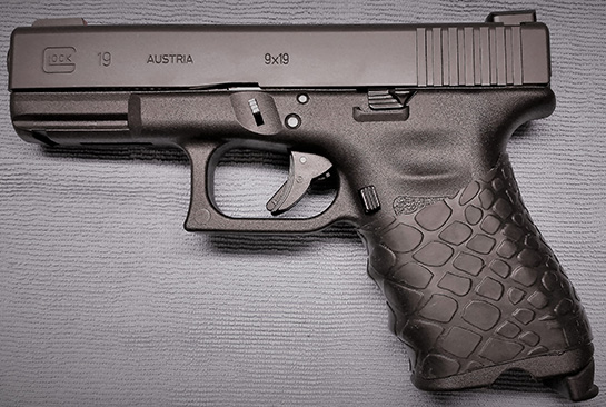 Glock 19 with trimmed TUFF1 Black Boa