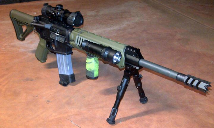 Bushmaster M4 5.56/.223 with Zombie Down on fore-grip (Pic 2)