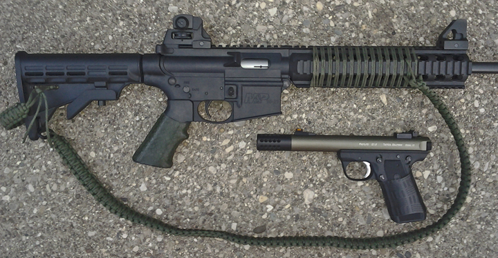 M&P 15-22 with TUFF1 Boa OD Green, Ruger 22LR Pistol with TUFF1 Double Cross Black