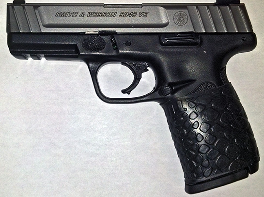"""...S&W SD40VE with the TUFF1 Black Boa Grip and it feels awesome...Good product thank you"" ~ M.A."