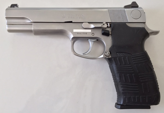 S&W 1026 10mm. Virginia State Police issue 1990-1993. Double Cross sleeve fits great!