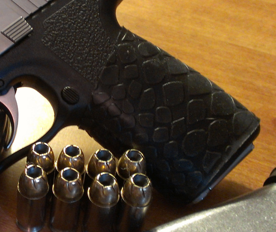 """WOW!! Great product...I will be getting more"" - Close-up TUFF1 Black Boa on Kahr CW45 .45acp"