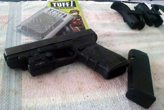 gen 4 Glock 21 with TUFF1 Black Double Cross Grip ...TUFF1 actually fits like a second skin,, much better than a glove