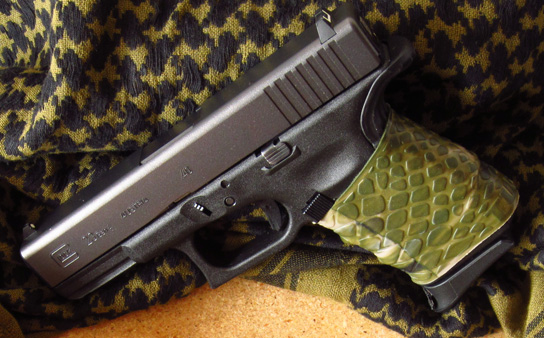 "Close-up pic - ""Awesome grip. Had decal grips... switched to the TUFF1. No problems."" ~D.P. TUFF1 ATACS FG on Glock 23"