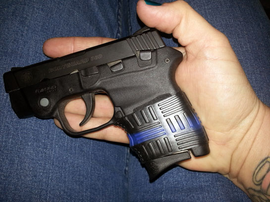 S&W Bodyguard 380 with a perfectly trimmed TUFF1 Double Cross Thin Blue Line