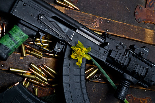 TUFF1 Zombie Down! on AK Romanian WASR 10/63 - from the 556P Firearms and Spring Flowers Collection