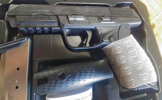 ".45 Cal Ruger American Pistol with Desert Tan TUFF1 Grip - sent in by D.W. ~""...I love my grip. It is like the thing is glued to my hand, even without gloves... Best money I ever spent on tactical products!! I even bought two more for my son and cousin."""