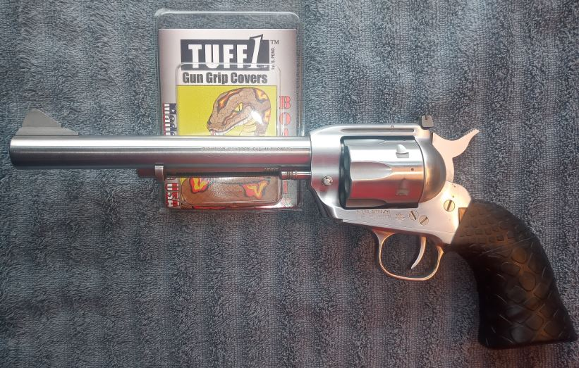 "7-1/4"" SS Virginian Dragoon .44 MAG. with TUFF1 double Black Boa's"